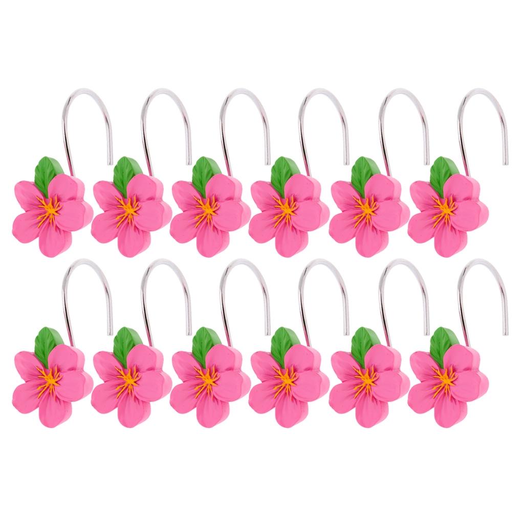 12pcs Resin Flower Shower Curtain Hooks Hanger Curtain Rings Home Batoom Decor