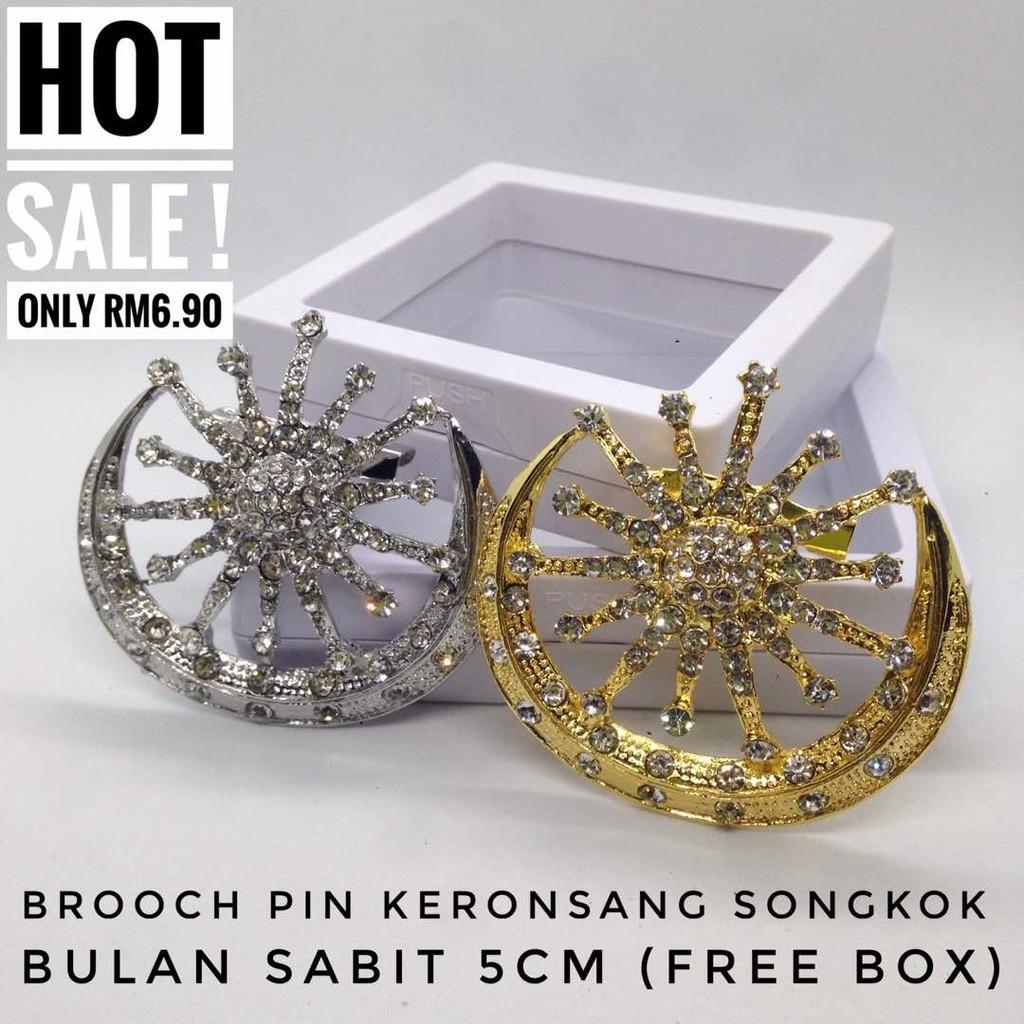 Brooch Pin Keronsang Songkok Bulan Sabit 5CM (FREE BOX)