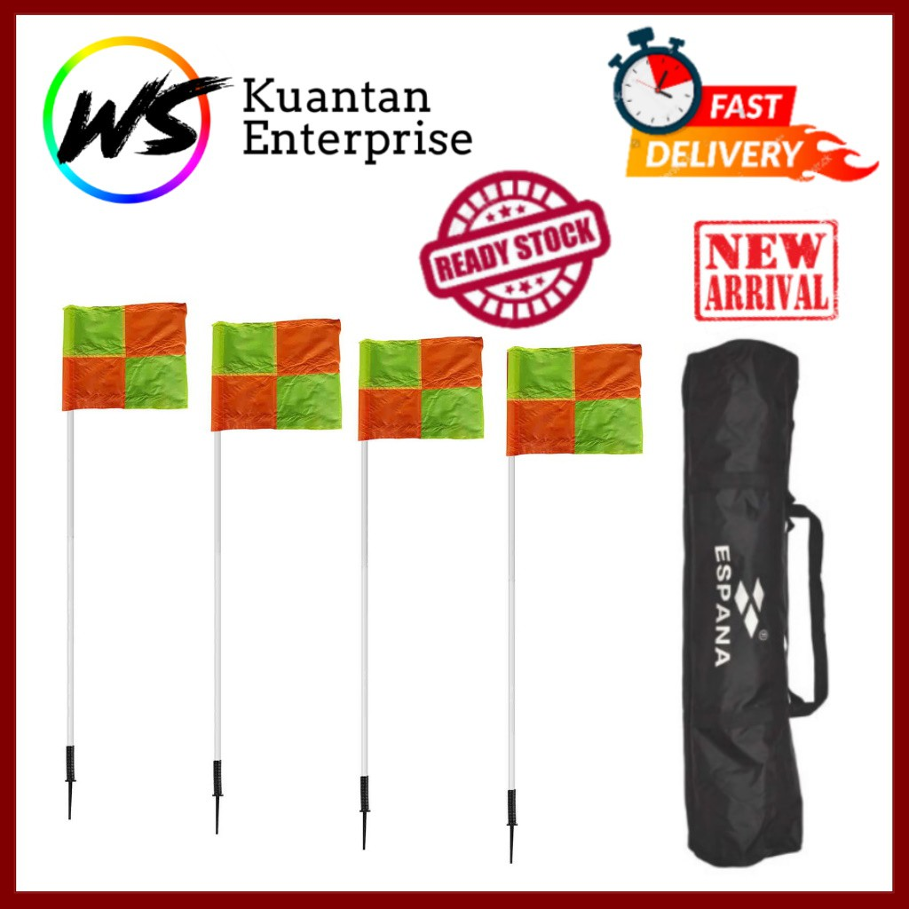【100% Ready Stock】New Top Football Corner Flag with Spring - Set of 4pcs (Free Carry Bag)