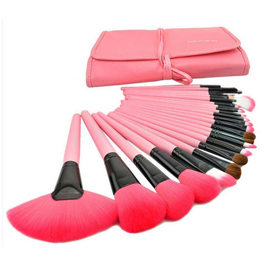 Hualiya Makeup Cosmetic Brush Set 24 Brushes with Bag Pink (Pink)