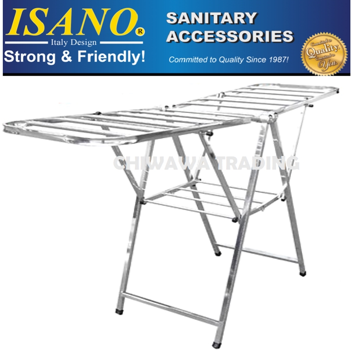 ISANO 1322DR Stainless Steel Solid Clothes Drying Rack Cloth Shoe Hook 100kg GUARANTEE NOT RUST Rak Penyidai Baju