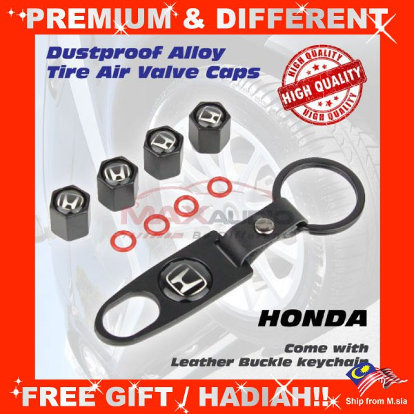 [FREE Gift] HONDA Universal Dustproof Car Vehicle Alloy Tire Wheel Air Valve Stem Cap Cover with Keychain (4pcs/Set)