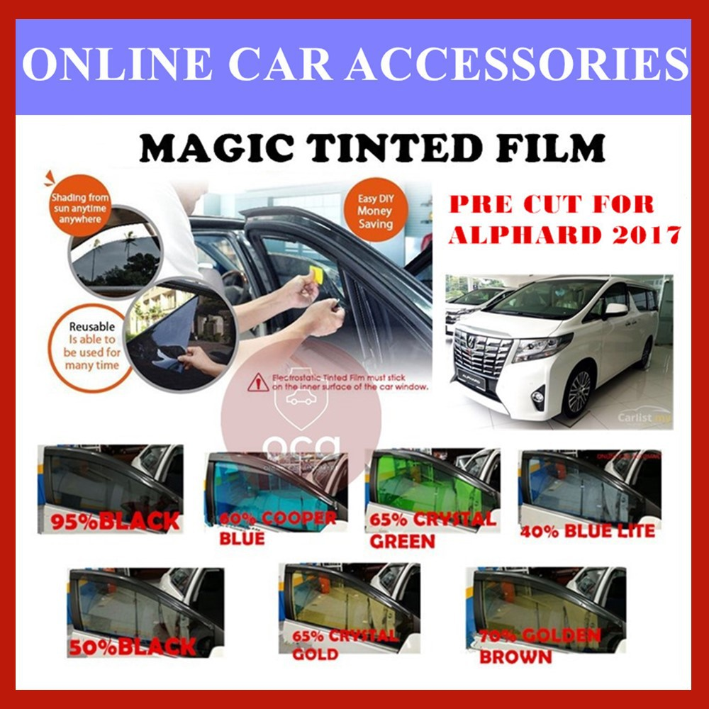 Toyota Alphard 2017  - Pre-Cut Shape Magic Tinted Solar Tinted (4 Windows & 2 Triangle /4 Windows+Rear)