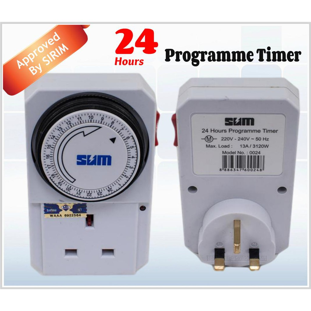 Gmt02a Uk 3 Pin 13a Analog Plug In 24 Hours Timer Programmable Theben Sul181h Switch Shopee Malaysia