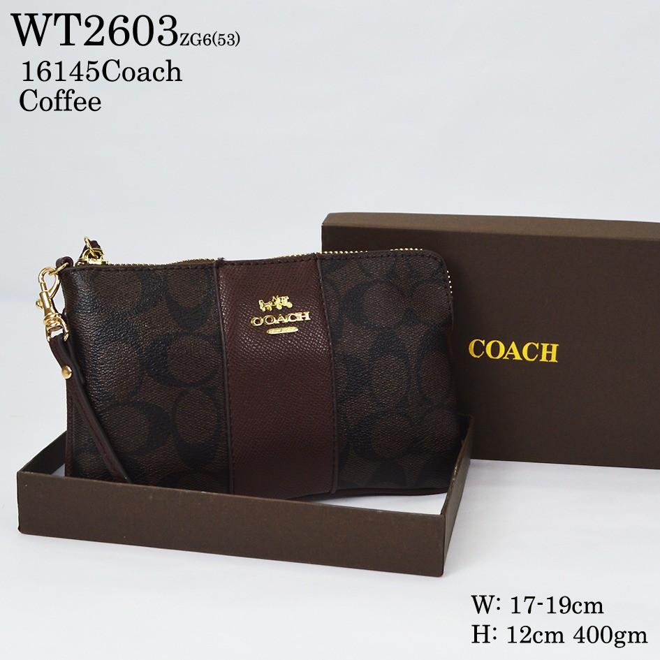 4b60e1ff06671 Original Coach Signature PVC Leather Corner Zip Wristlet - Khaki Oxblood  Glitter