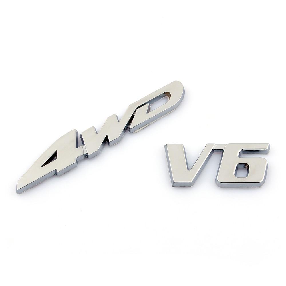 Chorme Metal V6 Rear Sticker Emblem V6 Decals Fit For Toyota Highlander