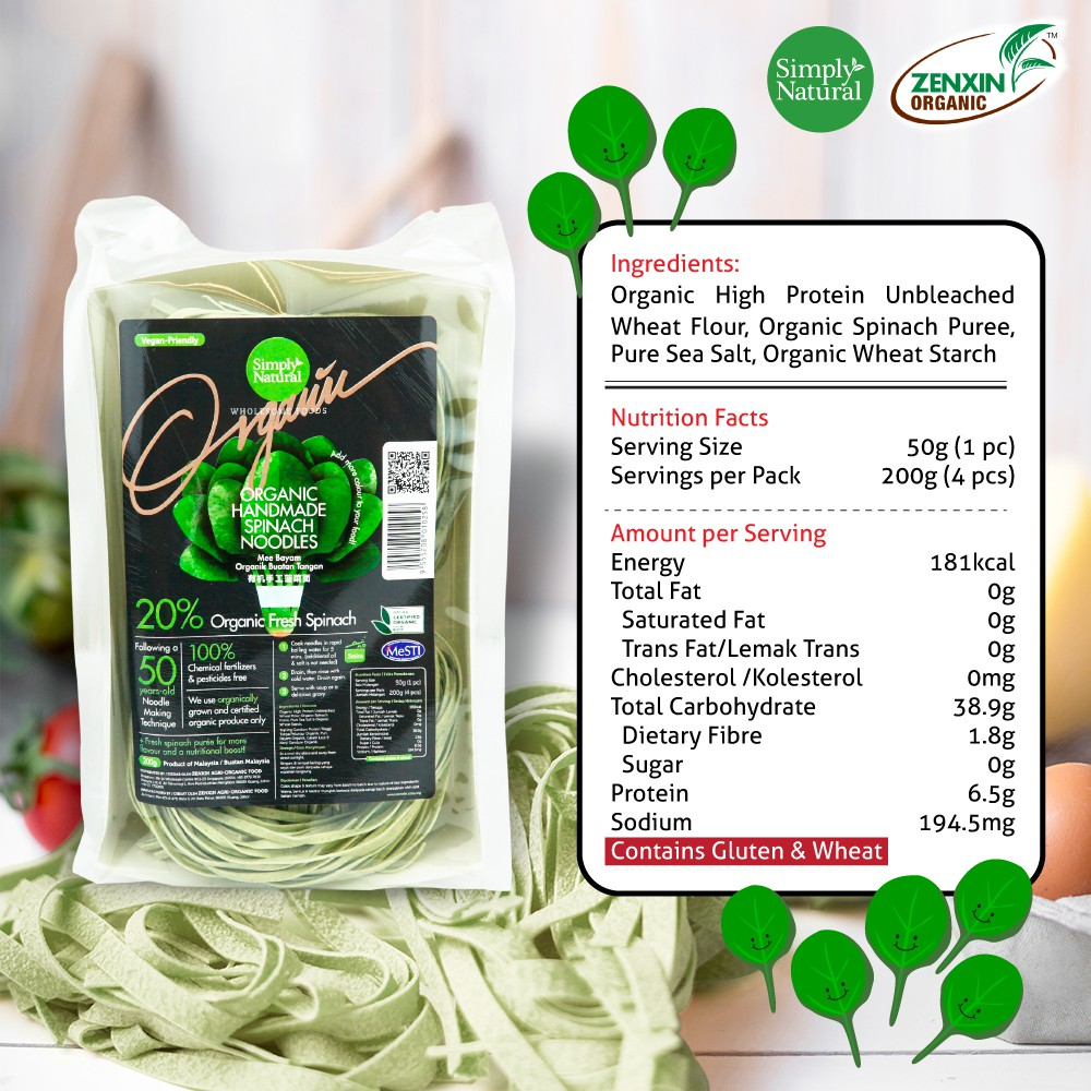 Simply Natural : Zenxin Spinach Flavour Noodle | 4 serving, 200g | Vegan-friendly| 20% Puree | 100% Organic