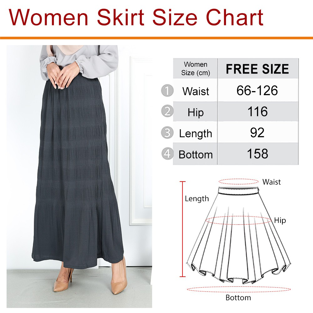 READY STOCK] CASUAL FIT TO 2XL SKIRT LABUH MUSLIMAH IRONLESS KAIN LAICI / CASUAL TEXTURED PLUS SIZE LONG SKIRT
