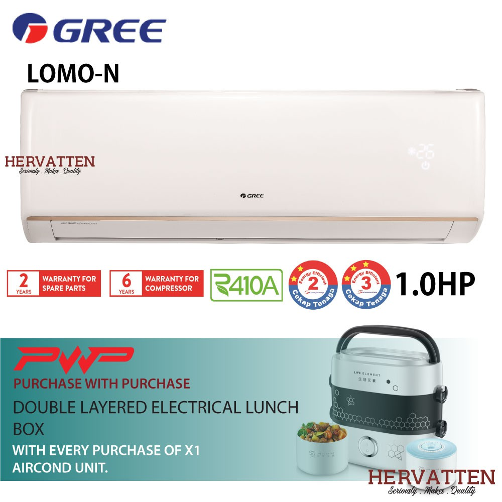 Gree LOMO N Series Wall Mounted Non-Inverter 1 0HP-1 5HP (PWP Lunch Box) 1HP