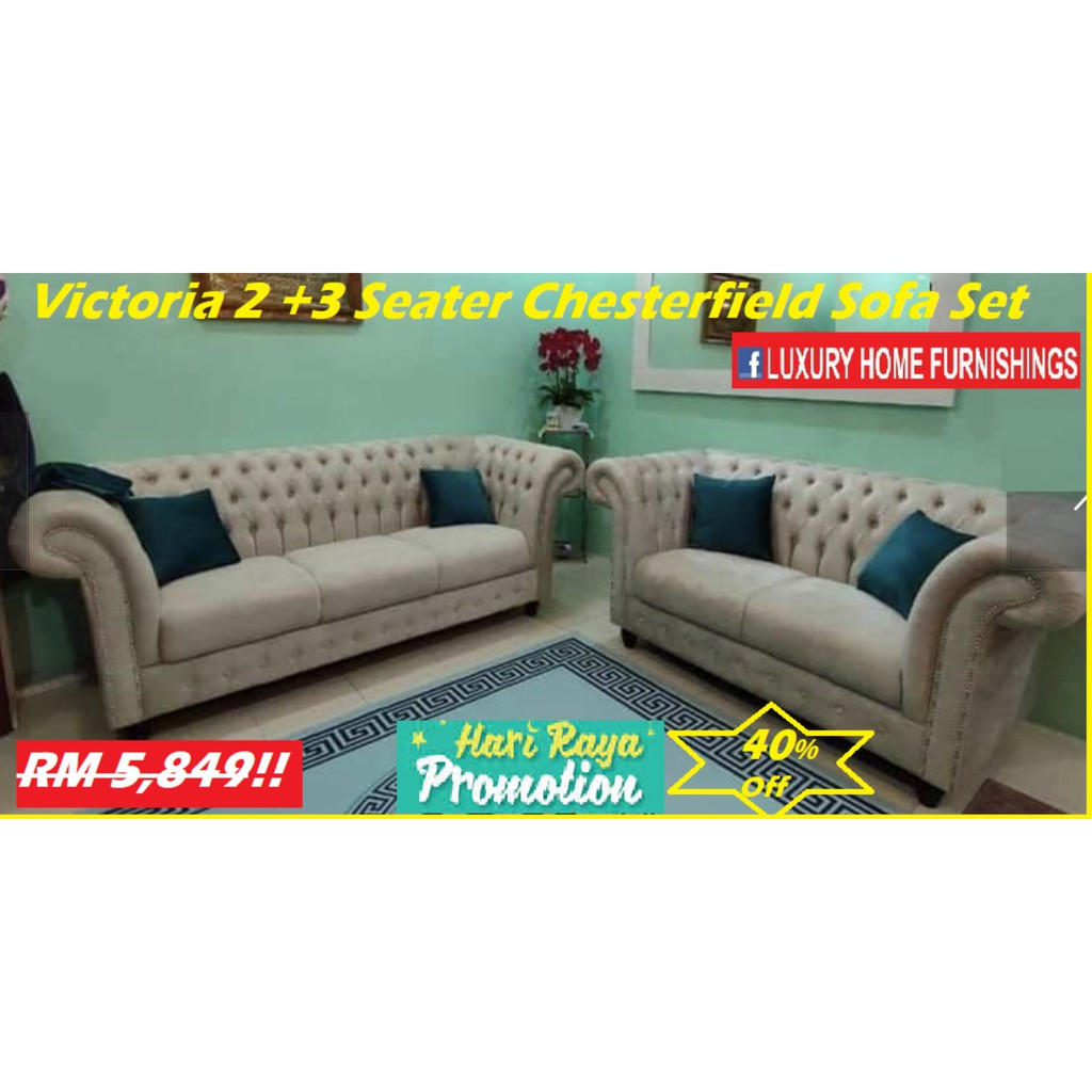 VICTORIA,  2 + 3 CHESTERFIELD SERIES  SOFA SET, IMPORTED FIBER GUARD FABRIC, LIGHT & GOLD COLORS !! RM 5,849!! 40% Off!!