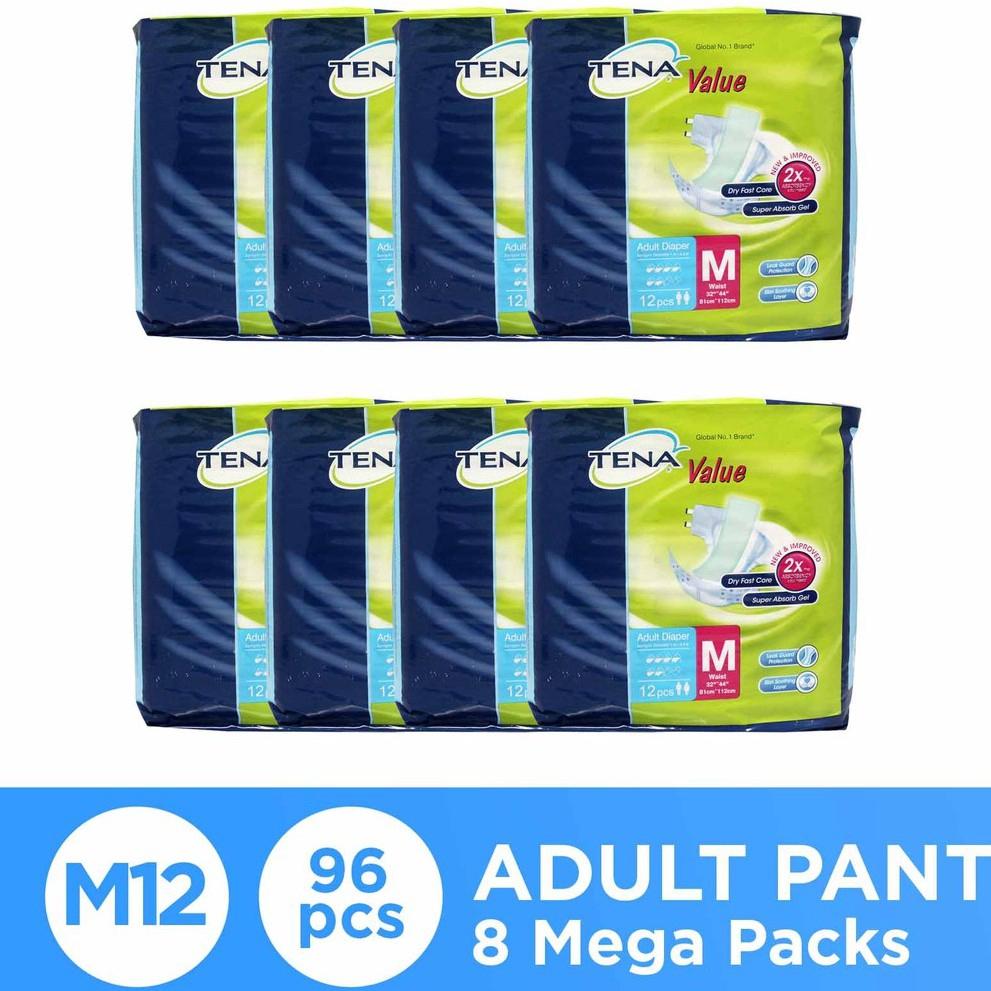 Tena Value Adult Diaper M12 x 8 packs (96s total)