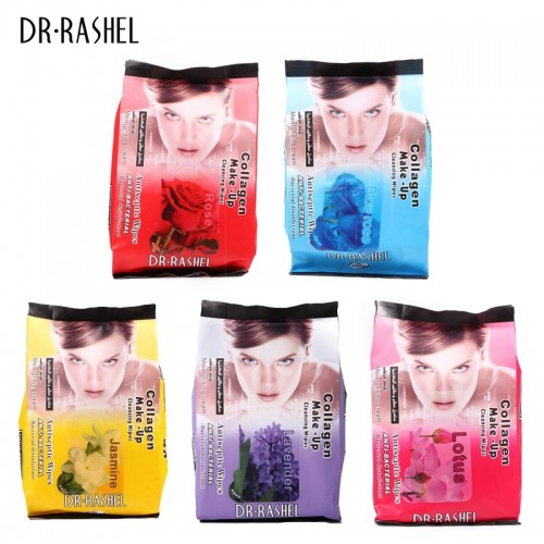 Dr Rashel Collagen Make Up Cleansing Wipes Tissues Anti Bacterial