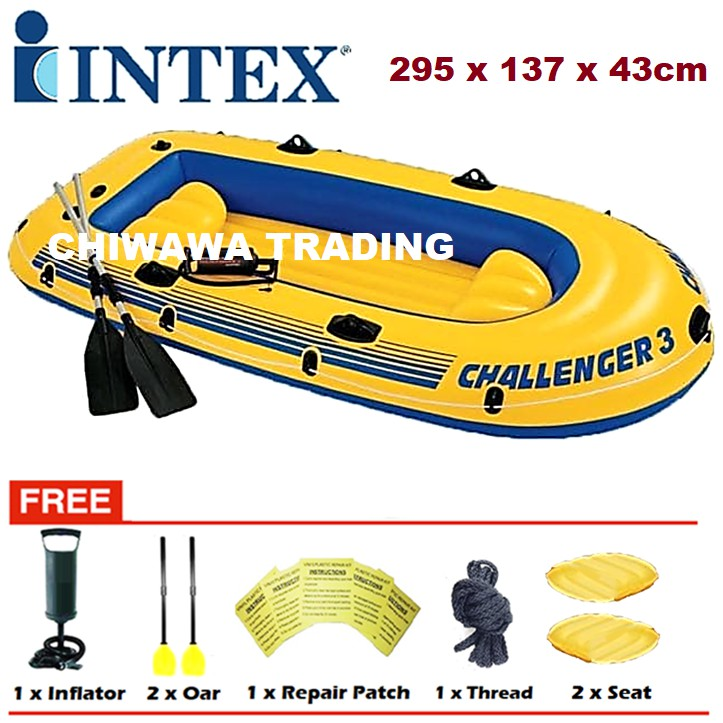 PROMOTION 68370  INTEX CHALLENGER 3 Inflatable 3 - 4 Person Swimming Fishing Boat Canoeing + Paddles + Pump / Kayak
