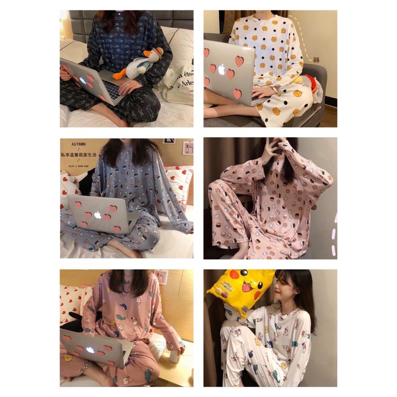 [READY STOCK] WOMEN COTTON LONG SLEEVE & LONG TROUSER SLEEPWEAR PYJAMAS WITH PRINTED DESIGN - FREE SIZE(L SIZE CUTTING)
