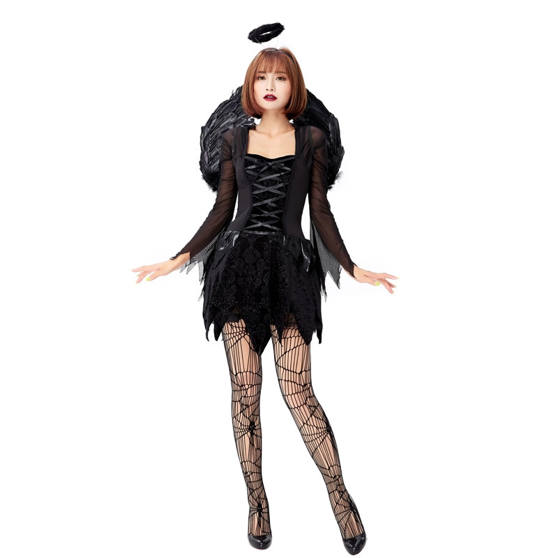 Women/'s Black Fallen Angel Dark Costume with Wings Silm Halloween Cosplay Dress
