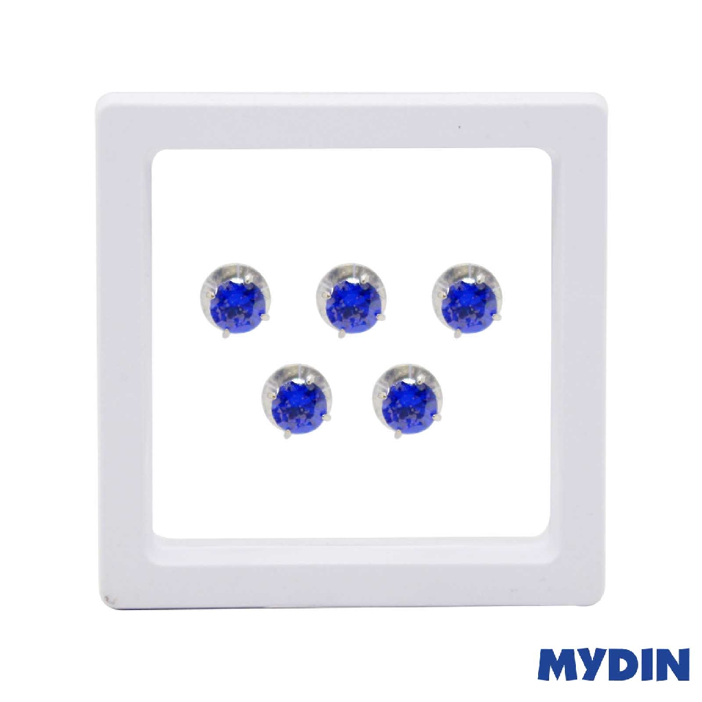 Armaan Button Zircon Blue 8MM SACXDS-15 #Raya