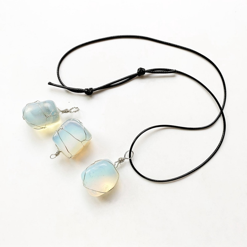"""Opalite Crystal Heart Pendant 25mm with 20/"""" Silver Necklace Meditation Healing"""