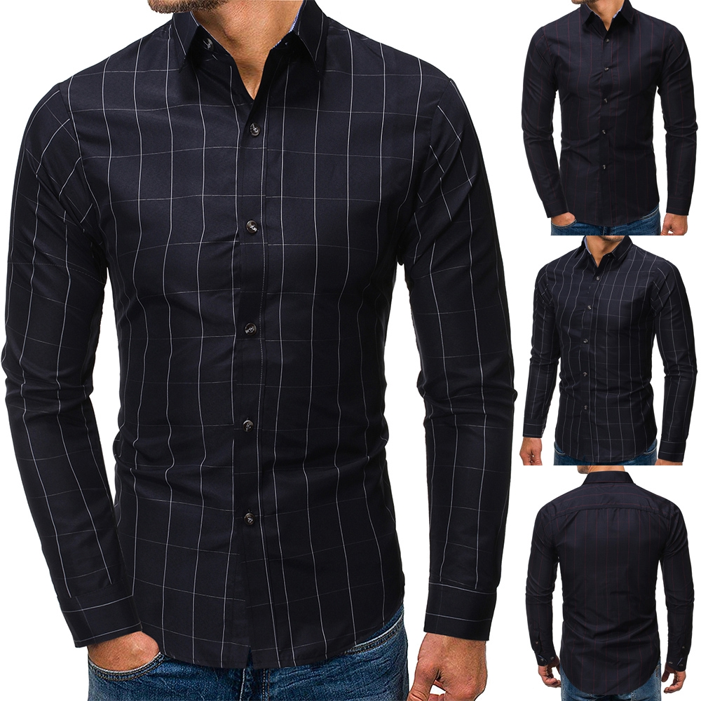 Domple Men Long-Sleeve Slim Fit Polka Dot Button Down Casual 100/% Cotton Denim Shirt