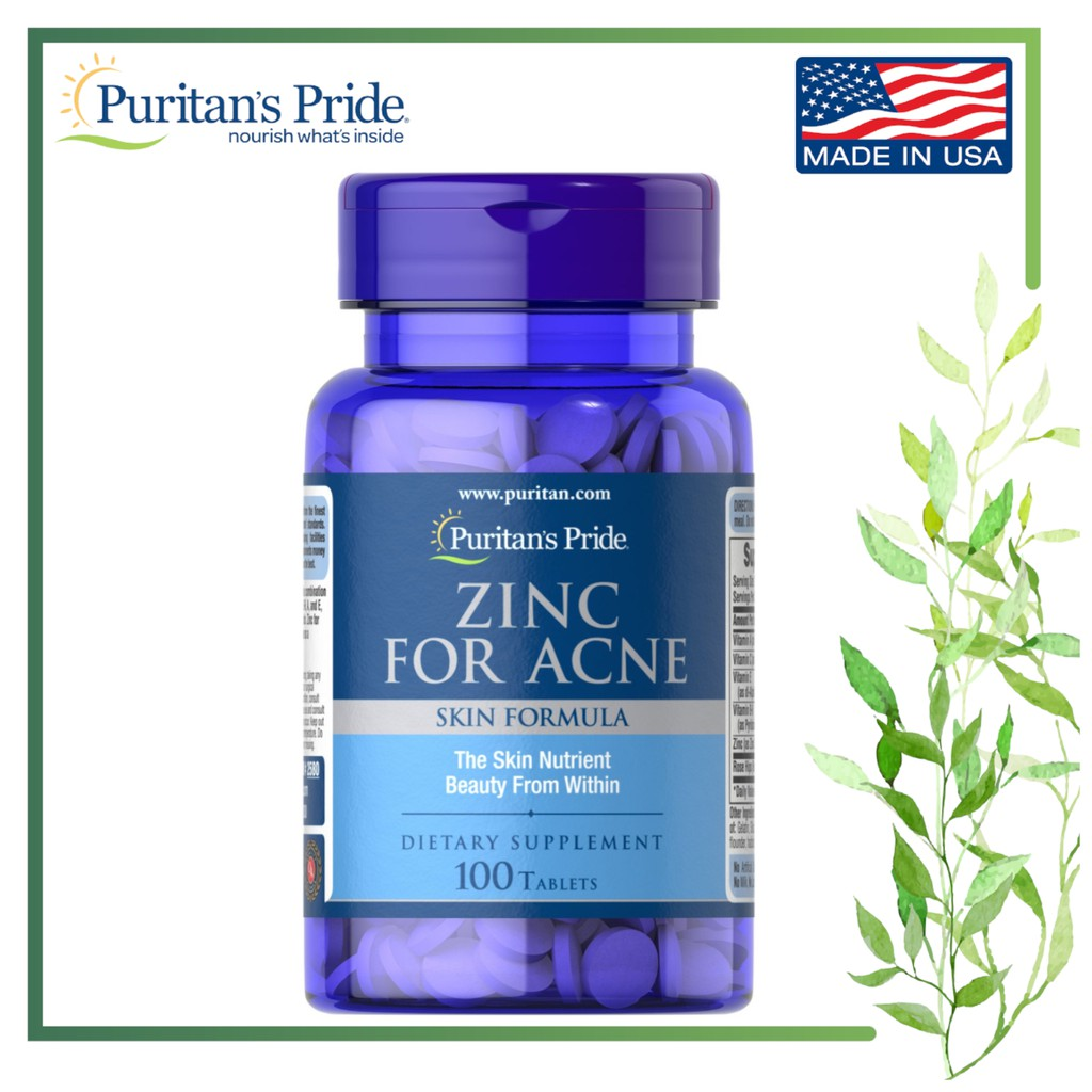 Puritan's Pride Zinc for Acne, 100 Tablets (For clearer ...