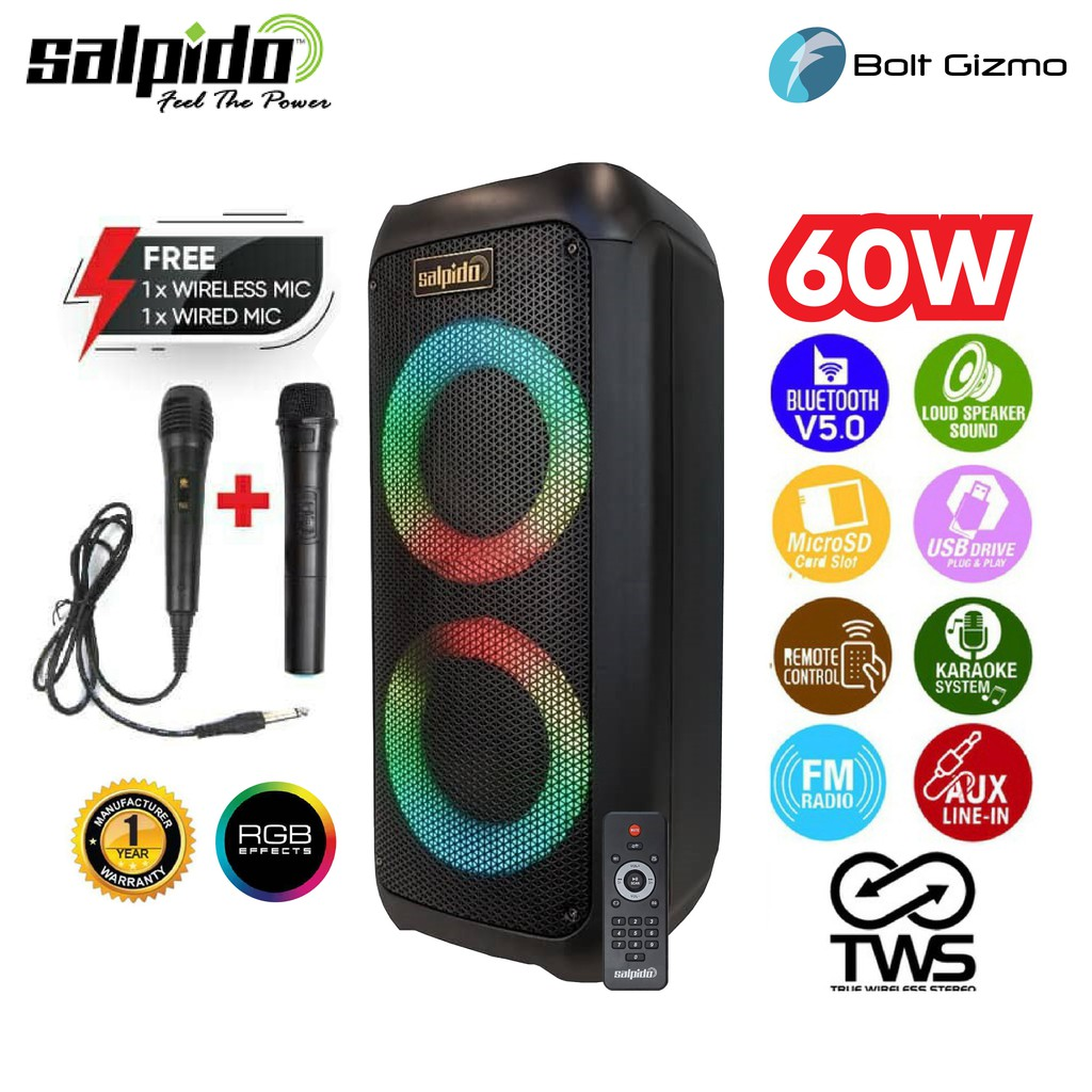 Salpido Waves 303 Portable Bluetooth Speaker Free 1x Microphone Wireless & 1x Wired Microphone FM Outdoor Party Usb Aux