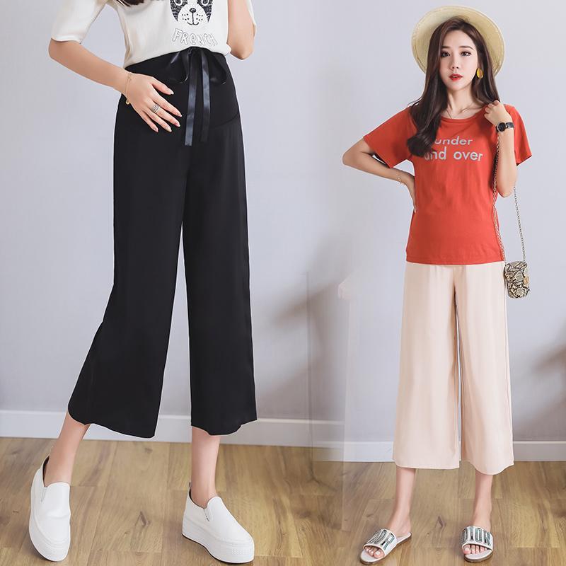 aaf50a246472e Summer Fashion Maternity Pants Thin Section Chiffon Cropped Trousers  Straight Loose High Waist Pants