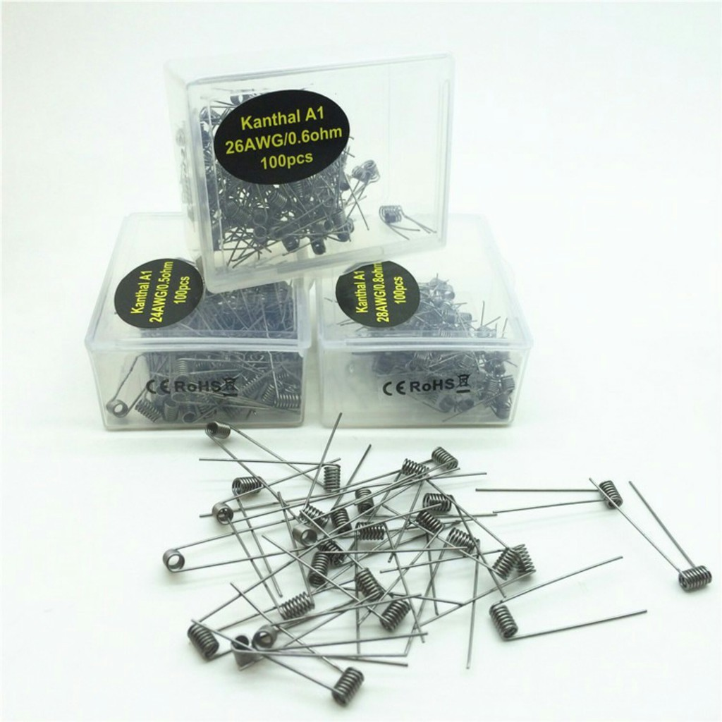 READY STOCK 24g / 26g Kanthal A1 Wire Pre-built coils 10/20/50/100 ...