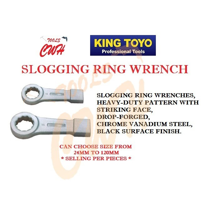 KING TOYO KTSR-XX 65MM TO 120MM SLOGGING RING WRENCH SPANNER NUT OPENING CLOSED WATER PIPE MECHANIC
