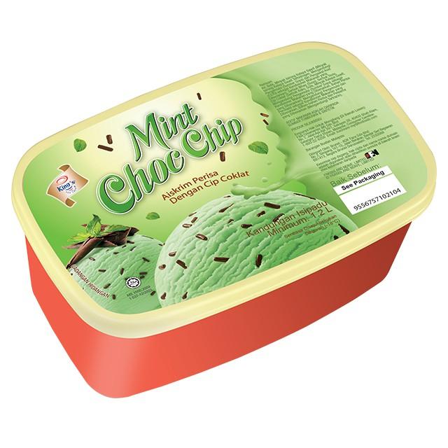 F&N King's Mint Choc Chip Ice Cream 1.2L