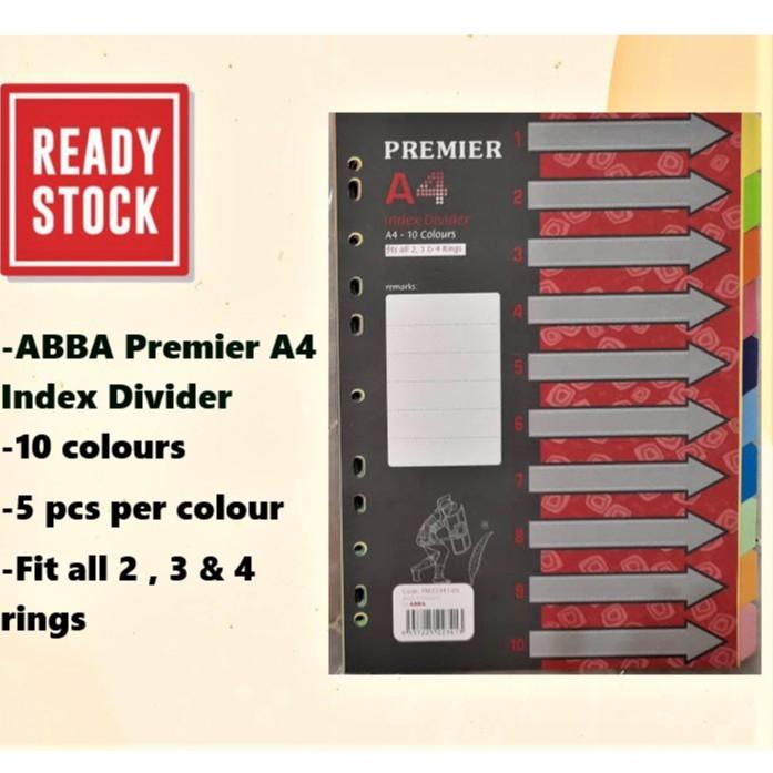 ABBA Premier A4 Index Divider 10 colours