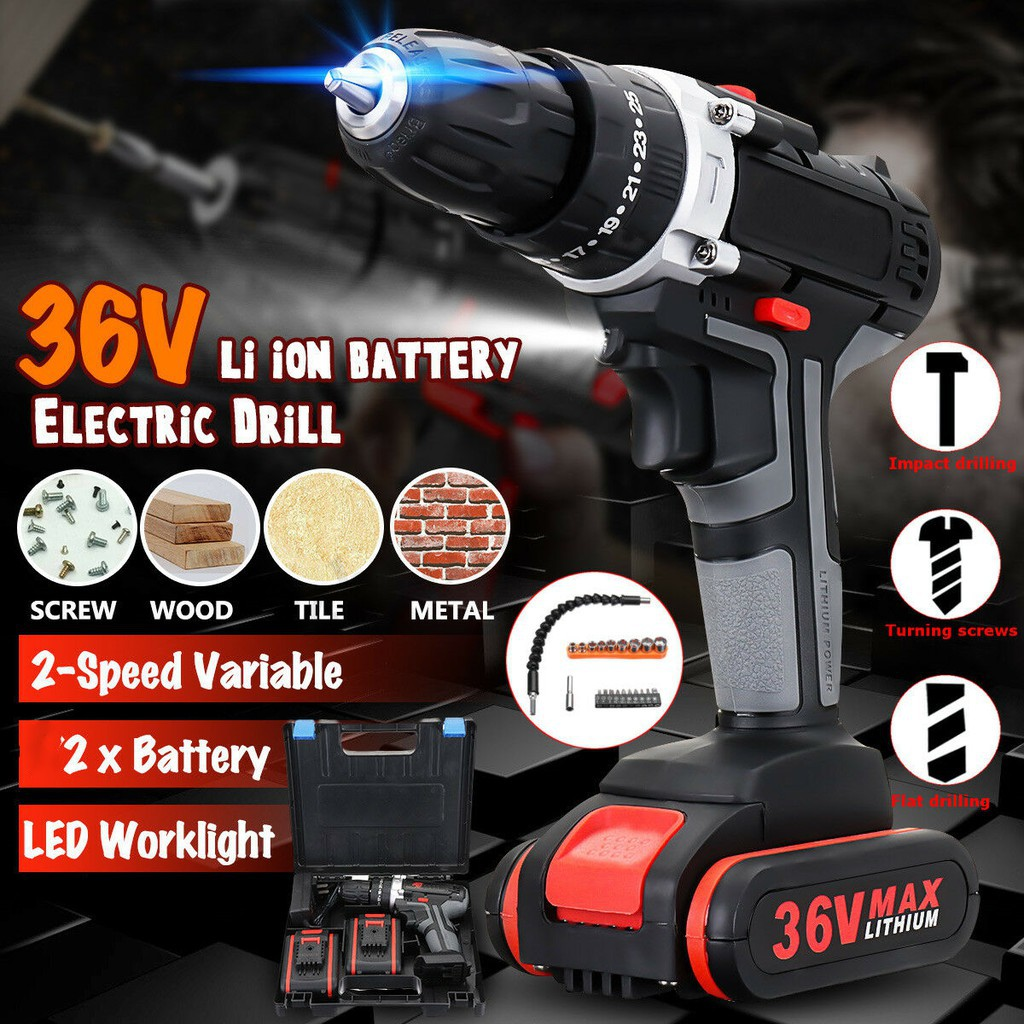 2 battery 36V 3/8'' Cordless Electric Hammer Drill Impact 25 Speed Torque  Set