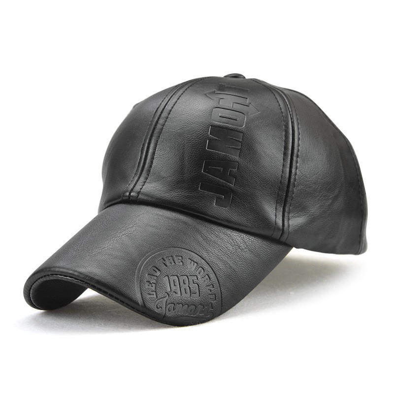 6ed398a42376f7 Men Baseball Caps Pu Leather Peaked Hats Visor Driver Golf Caps Adjustable    Shopee Malaysia