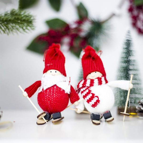 Funny Mini Ski Doll Christmas Tree Hanging Ornament Knit Doll Pendant Home Decor