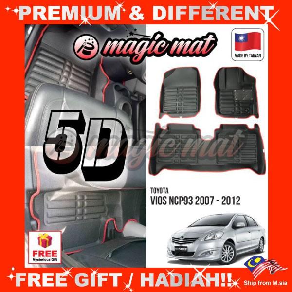 [FREE GIFT Gift] TOYOTA VIOS 2007 - 2012 (5 Seater) MAGIC MAT 5D OEM PU Leather Floor Mat Anti-Slip Easy Clean Carpet