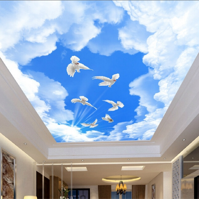 Custom Ceiling Wallpaper Blue Sky And White Clouds Murals Ceiling