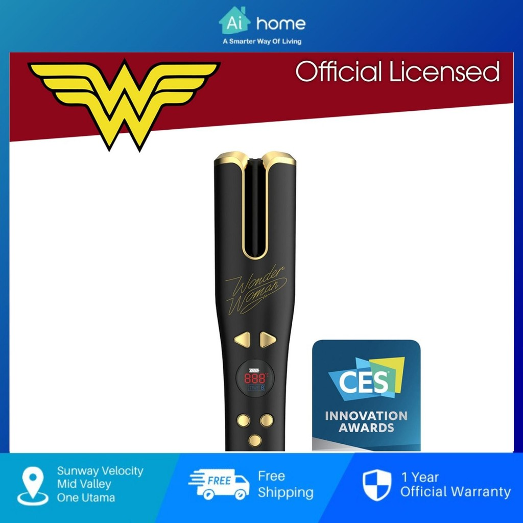 A&S Cordless Automatic Hair Curler [ Wonder Women Special Edition ] - 2 Directions Curling   Instant Heat Up [ Aihome ]