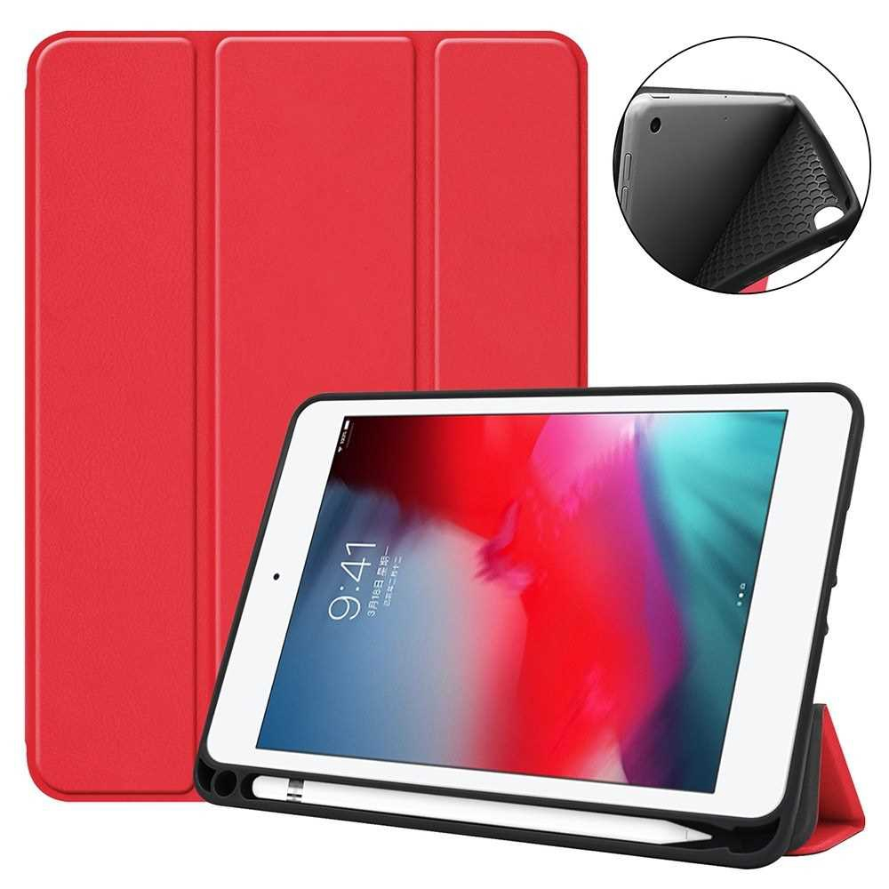 Tablet Cover Scratch-Free Microfiber Auto Sleep/Wake Function Full Protection Magnetic Case for iPad mini 4 (Red)