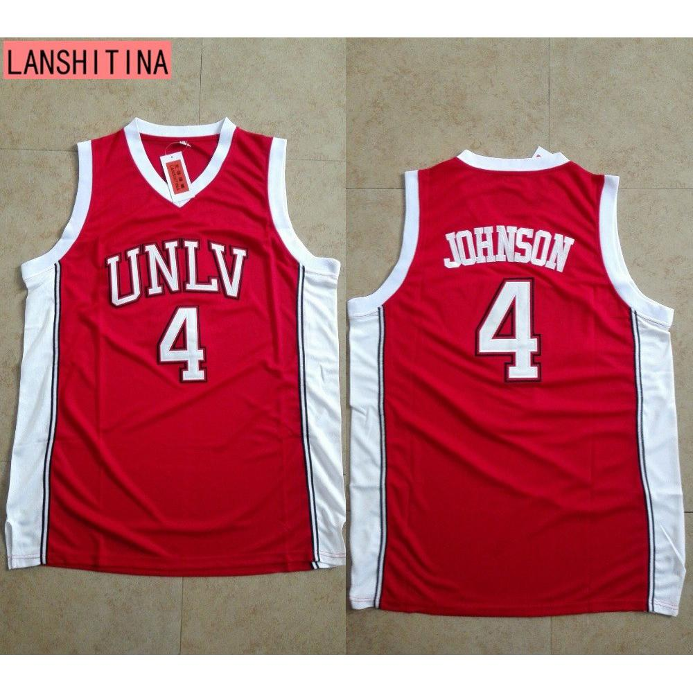 hot sale online 443bd 7466a Larry Johnson UNLV 1989 Jersey Running Rebels Throwback Shirt Stitched Red  Mens