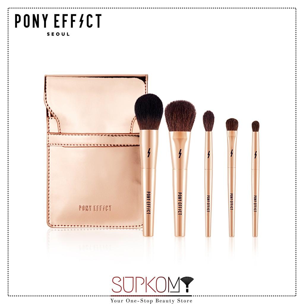 【CLEARANCE】Pony Effect Mini Brush Set Rose Gold Makeup Brush Eyeshadow Powder Foundation