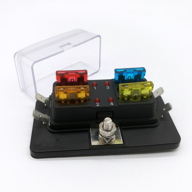 4 Way Car Vehicle Circuit Standard ATC Automotive Blade Fuse Box Block Holder JT