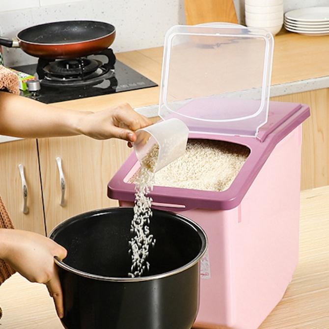 Rice Dispenser Storage Container Box Bekas Beras 5L 10L 15L Kitchen Organizer Dry Grain Food Cereal Flour Pasta Sealed P