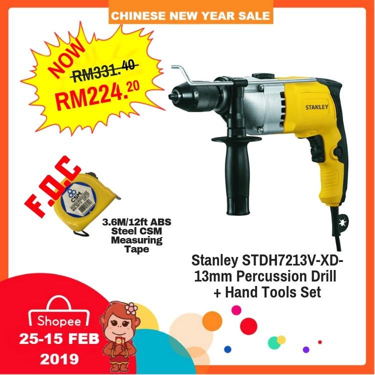 STDH7213V-XD-13mm Stanley Percussion Drill + Hand Tools Set 720W 240V