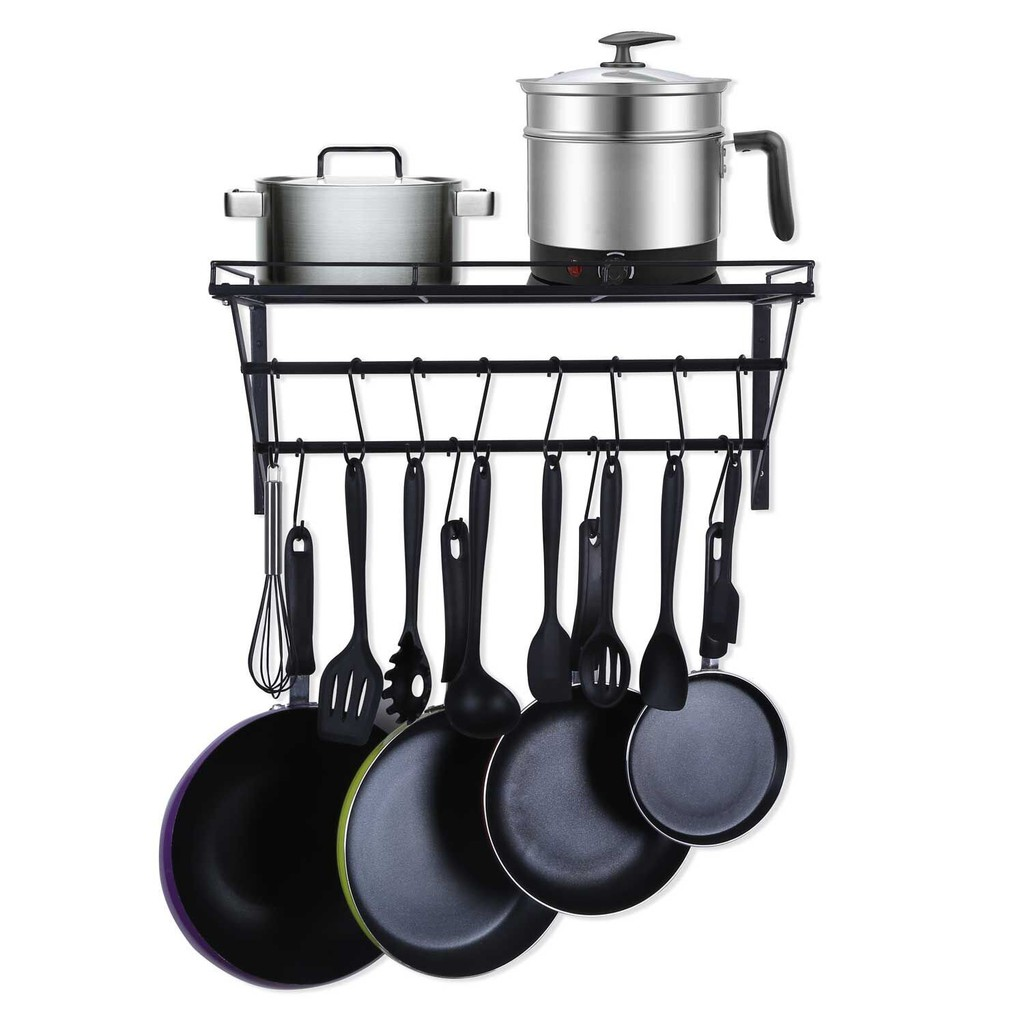 Wall Mounted Pot Rack Storage Shelf With 2 Tier Hanging Rails 12 S Hooks Included Ideal For Pans Utensils Books Shopee Malaysia
