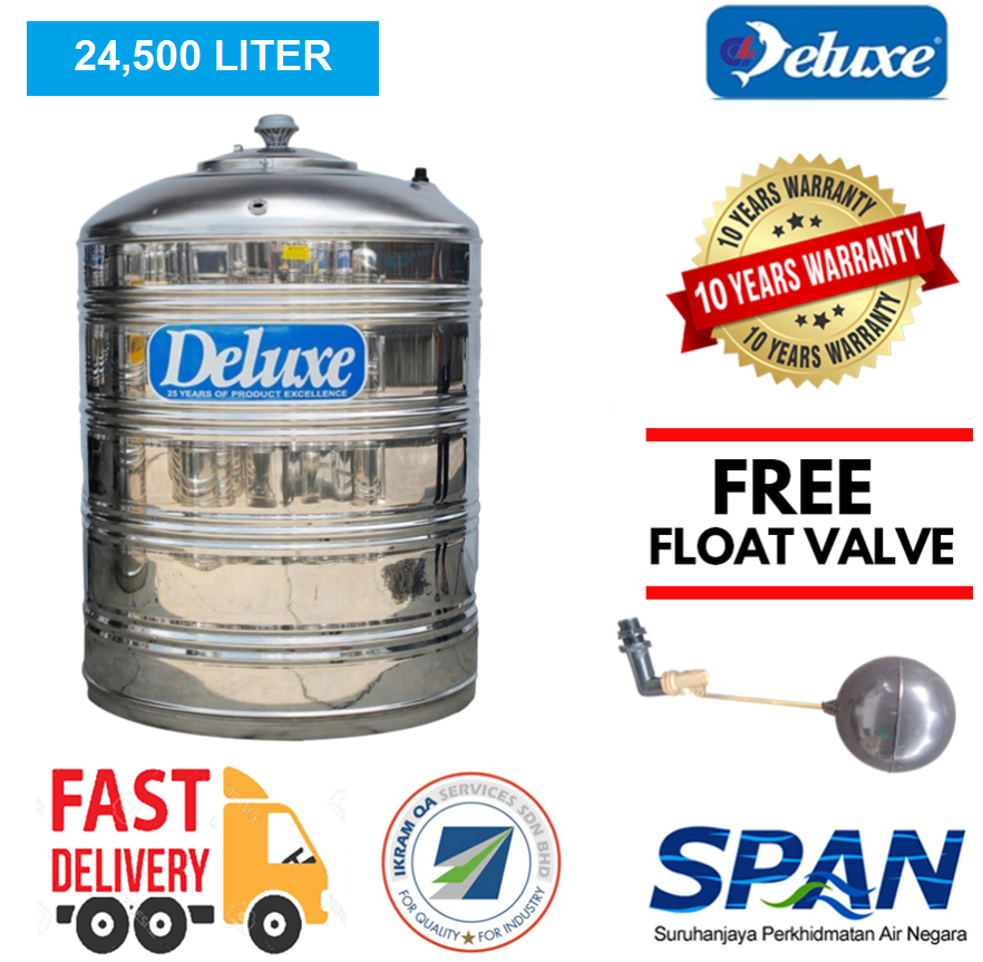 Deluxe Stainless Steel Water Tank (Without Stand) Flat Bottom (16000-24500LTR) Tangki Air (Warranty Up To 10 Years)