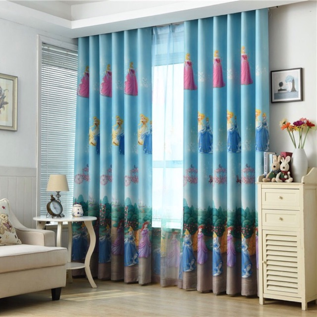 Cartoon Princess Curtains For Child Bedroom Blue Curtains For Baby Girls  Room