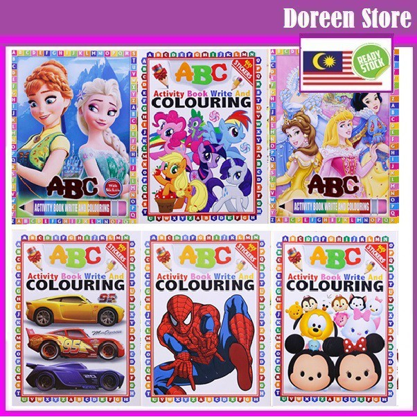 Kids Cartoon 123 ABC Activity Book, Write and Coloring Book Pony/ Spiderman/ Frozen/ Princess/ Mickey