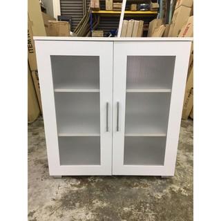 Kabinet Buku Rendah 2 Pintu Putih