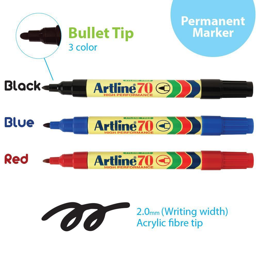 Artline Permanent Marker 70 (Bullet Tip) Blue/Black/Red