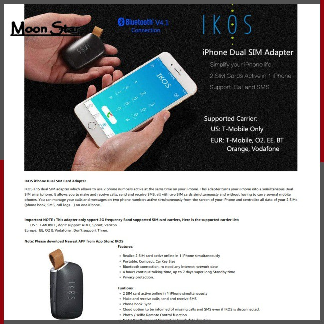 IKOS Two Active SIM Cards Adapter for iPhone Dual SIM Cards Bluetooth  Adapter