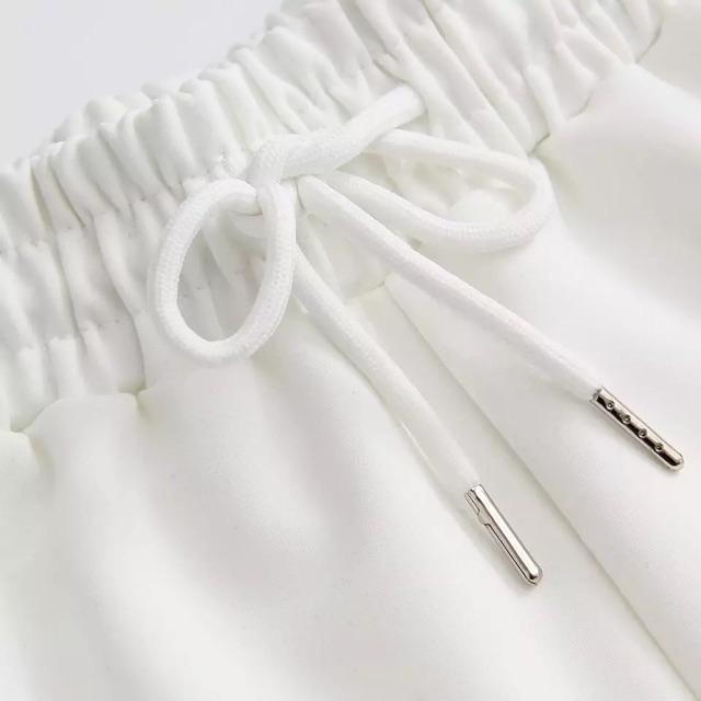 [XL~5XL]Plus Size High Waist Casual Pants 200斤胖mm夏装大码宽松松紧高腰热裤系带侧白条运动休闲阔腿裤女
