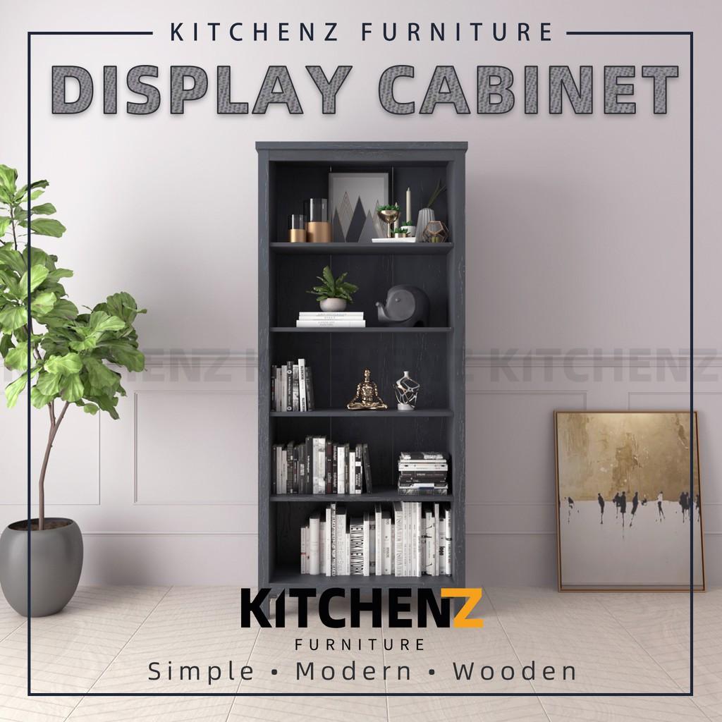 Kitchenz 3FT Akara Series Display Cabinet Modernist Design Storage Cabinet with Plastic Wood Leg  - HMZ-FN-DC-A1960-DG